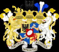 Het wapenschild en familiemotto van de Rothschild familie.