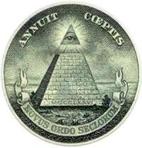 De Grootzegel van de Verenigde Staten wordt vaak aangevoerd als Illuminati logo, hoewel het helemaal niets met de historische Illuminati te maken heeft.