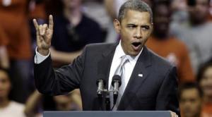Obama die het Illuminati handsignaal maakt, vanzelfsprekend om zo de geheimhouding van de organisatie te verzekeren.