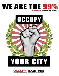 Veelgebruikt logo van de Occupy en 99% beweging.