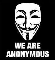 Het Anonymous-logo met het Guy Fawkes-masker dat symbool staat voor de autoriteit van de Paus en onderdrukking van alle andere godsdiensten.