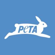 Het logo van de radicale dierenrechtenorganisatie PETA, die het spenderen van geld aan schokkende en pseudowetenschappelijke advertenties meer prioriteit geeft dan daadwerkelijk dieren in nood helpen.